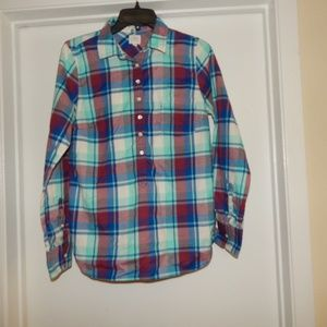 J. Crew Size S Plaid 1/2 Buttoned Flannel Shirt